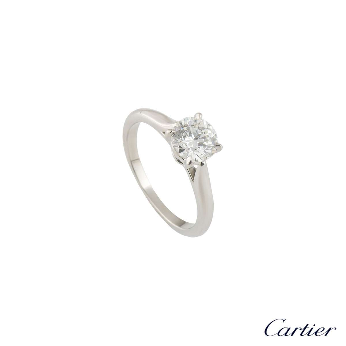Cartier Platinum Diamond 1895 Solitaire Ring 1.02ct F/VVS2